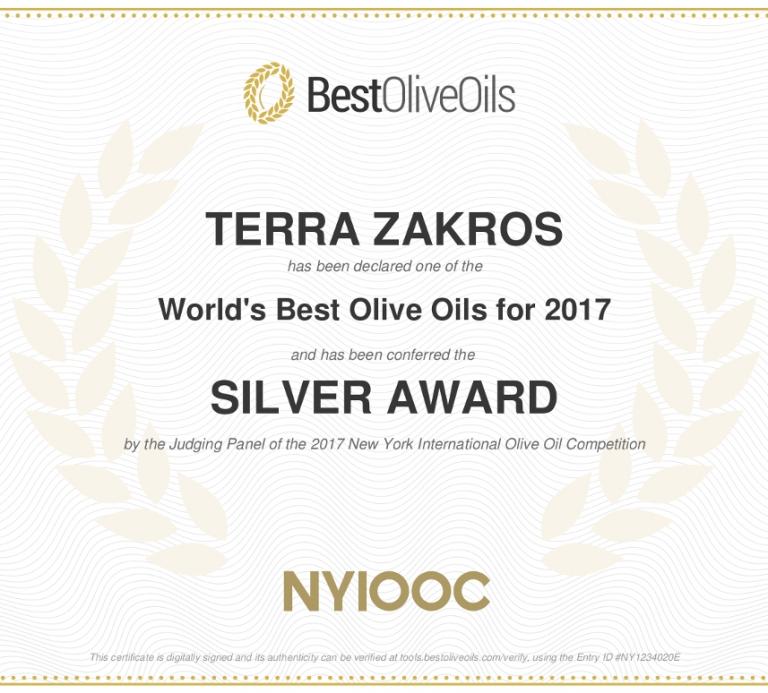 Sitia Terrazakros Silver NYIOOC 2017